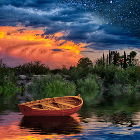 Twilight Lake by Charlie Alolkoy - Digital Art Places ( stars, sunset, twilight, lake, firefly, boat )