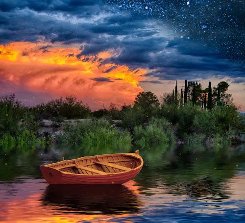Twilight Lake by Charlie Alolkoy - Digital Art Places ( stars, sunset, twilight, lake, firefly, boat )