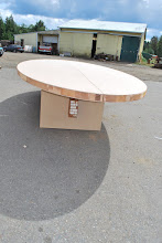 Photo: Our elliptical table top made from our Sing Honeycomb Torsion Box core, luan veneer and cedar solid wood edging