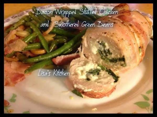 Bacon Wrapped Stuffed Chicken And Smothered Green
