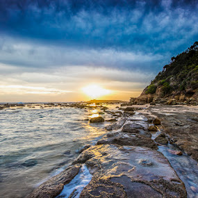 Blinding Light by Mel Stratton - Landscapes Sunsets & Sunrises ( sky, sunrise, rocks, clouds, water, trees,  )