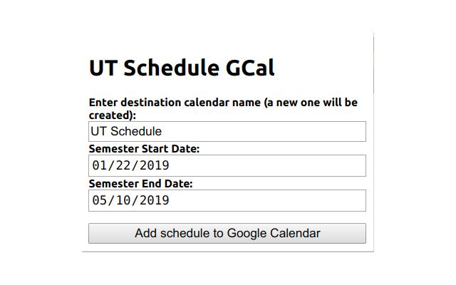 Ut 2019 Calendar UT Schedule GCal