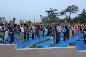 Photo: Students doing 'Surya Namaskar'