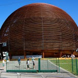 the wooden globe at CERN in Geneva, Geneva, Switzerland