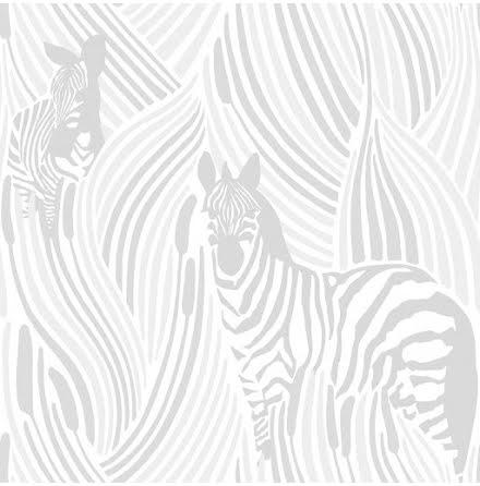 Vallila Sarastus Tapet med zebror 5143-1, Grå