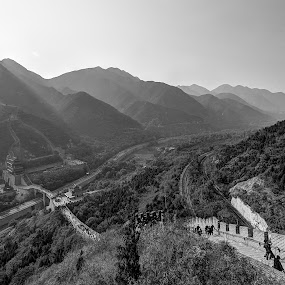 The Great Wall of China by Zaid Zaza - Landscapes Travel ( hills, mountains, black and white, great wall, china, b and w, landscape, b&w, monotone, mono-tone )