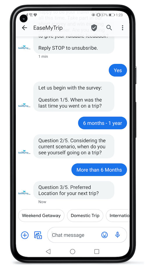 EaseMyTrip used RCS Business Messaging to survey customers on post-COVID travel.