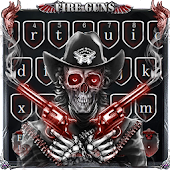 Skull Fire Guns Keyboard Theme