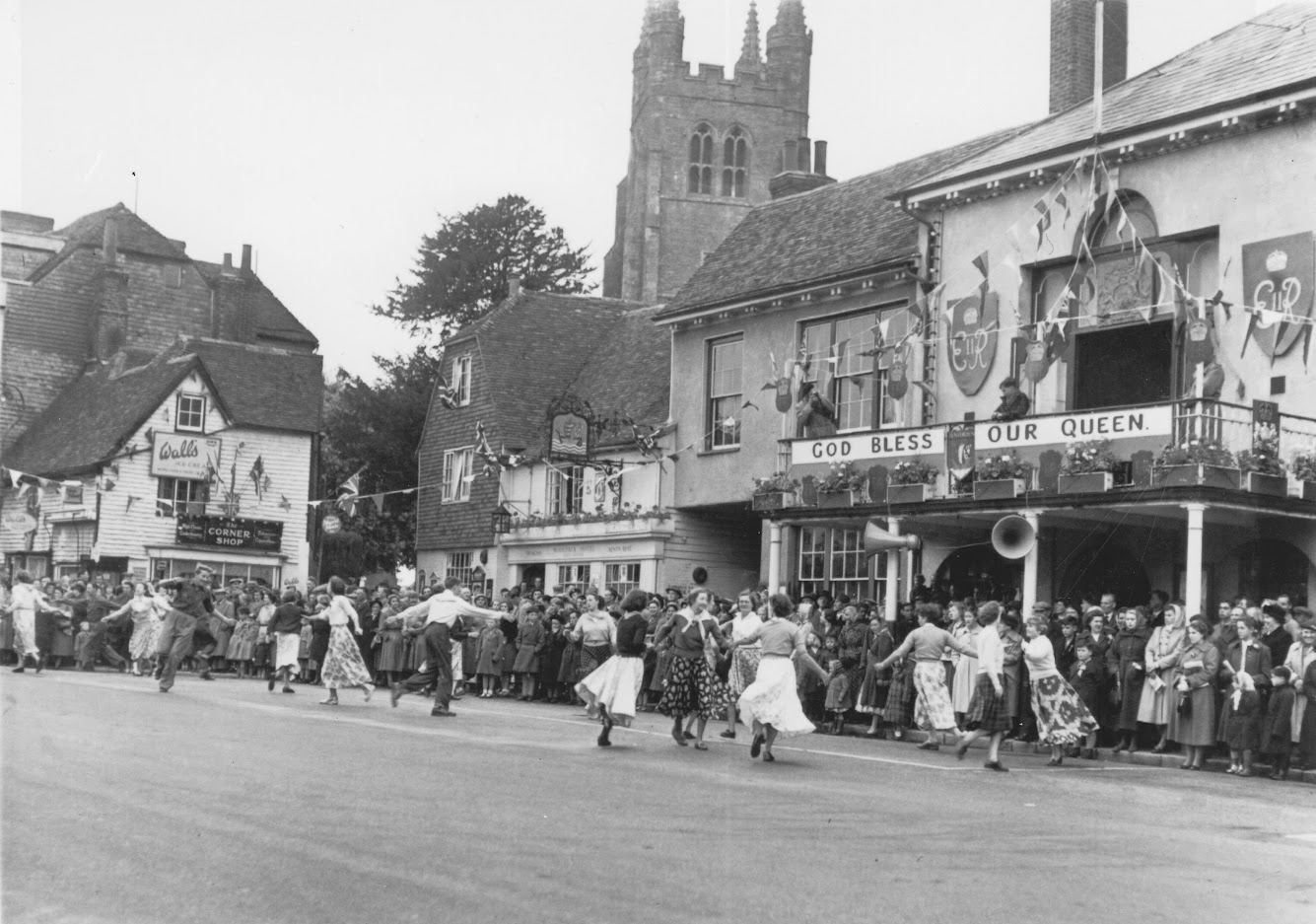 Outside Tenterden Town Hall in 1953 God Bless our Queen