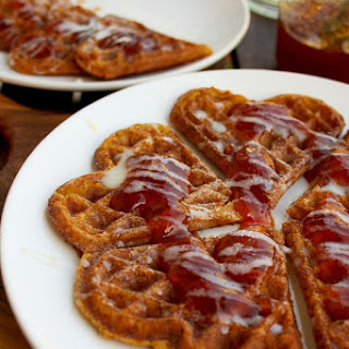 Delicious and Low-Caloric Pumpkin Waffles Topped with Homemade Prickly Pear Cactus Jam and Condensed Milk
