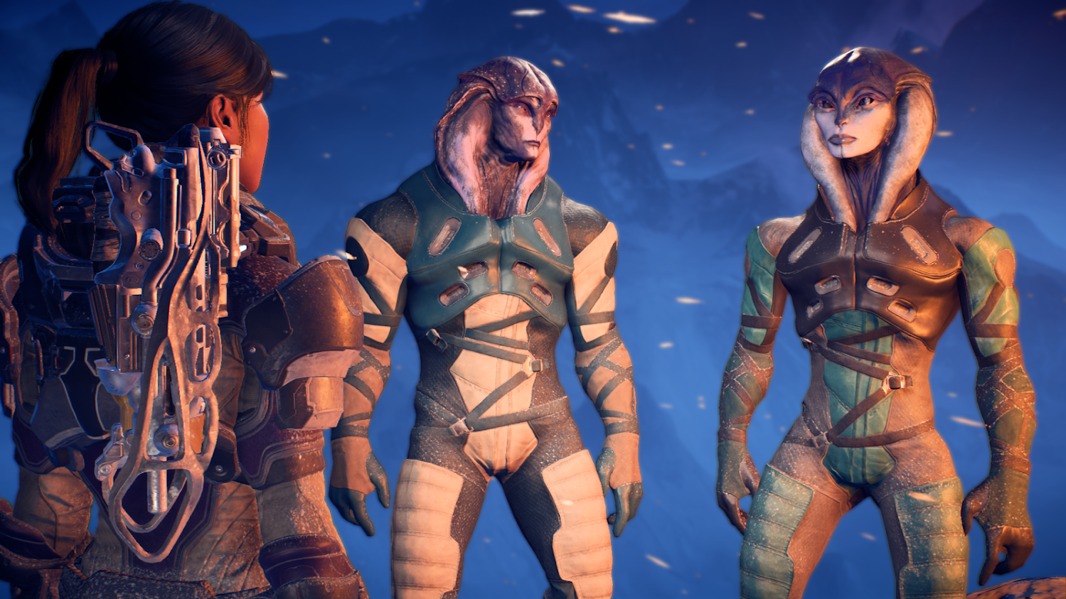 A picture of two angara from Mass Effect: Andromeda