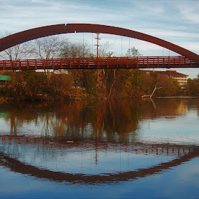Tridge Reflections by Kathy Woods Booth - Buildings & Architecture Bridges & Suspended Structures ( michigan, autumn, reflections, architecture, bridge,  )