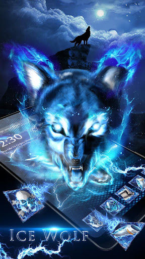 3D blue fire Ice wolf launcher theme 1.2.4 screenshots 2