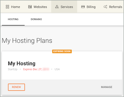 The My Hosting plan is shown with Renew and Manage options.