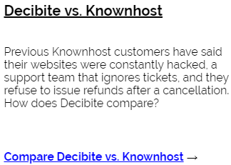 Decibite vs KnownHost
