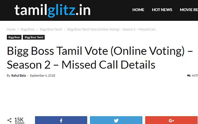 Bigg Boss Tamil Vote