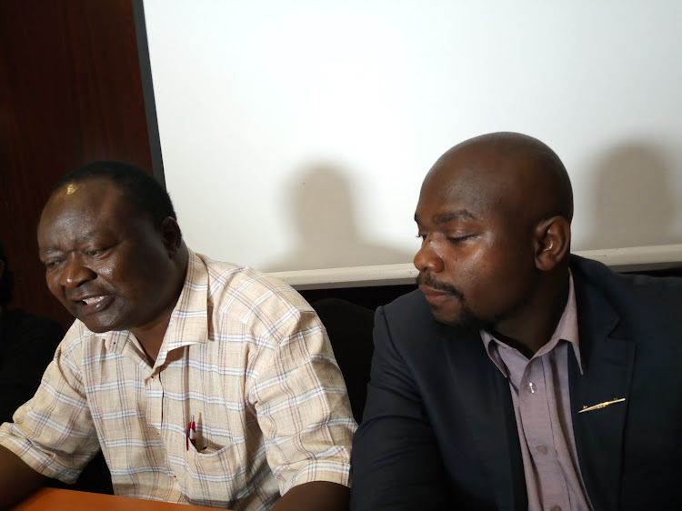 The Kenya Tobacco Control Alliance chair Joel Gitali and national coordinator Thomas Lindi at a past conference