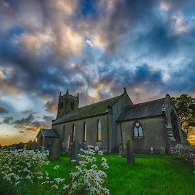 St Michaels of Rampside by Graham Kidd - Buildings & Architecture Places of Worship ( clouds, sky, church, grass, green, gravestones, flowers )