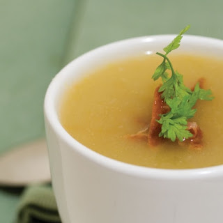 White Carrot Ginger Soup with Chervil and Crispy Prosciutto.