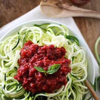 Zucchini Pasta with Beet Marinara Sauce