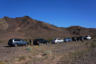 Photo: We park our cars as we prepare to hike into the Marble Mountains searching for trilobite fossils.