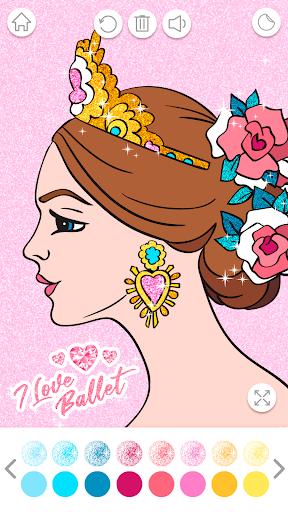 Ballerina Coloring Book Glitter - Girl Games android2mod screenshots 5