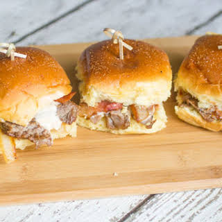 Grilled Bacon and Onion Ribeye Steak Sliders with Beer Cheese.