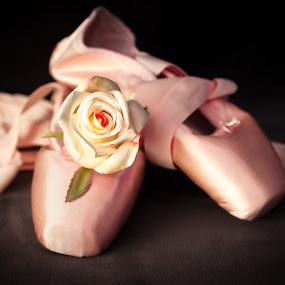 Ballet slippers and rose by Jocelyne Maucotel - Artistic Objects Clothing & Accessories ( slippers, rose, still life, pink, ballet )