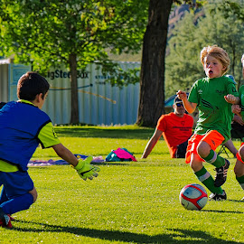 Rushing The Net by Garry Dosa - Sports & Fitness Soccer/Association football ( teams, movement, boys, outdoors, action, summer, children, competitive, game, running, soccer )