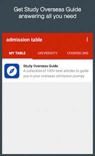 Admission Table - náhled
