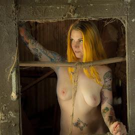 desiree #95 by Jim Oakes - Nudes & Boudoir Artistic Nude ( door, beauty, cob webs, barn, nude, female )