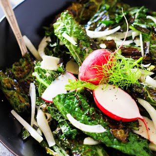 Grilled Kale Caesar Salad with Fennel and Radishes