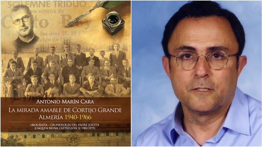 Antonio Marín Cara y la portada de su último libro.