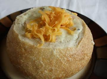 New England Clam Chowder Soup in a Bread Bowl