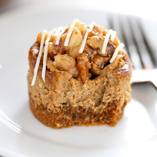 Mini Gingerbread Cheesecakes with Candied Walnuts.