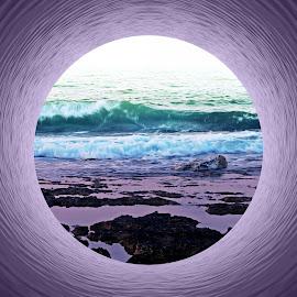 Into the Sea by Florentina  Arvanitaki - Digital Art Places ( waves, beautiful, rocks, beauty, nature, island, purple, abstract, drems, circle, sea )