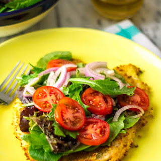 Baked Milanese Chicken with Mixed Greens and Tomato Salad