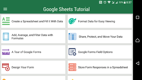 Sheets Tutorial - náhled
