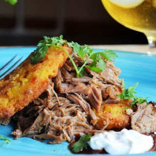 Jerk Pulled Pork with Sweet Corn Cakes.