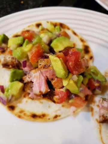 Ahi Tacos with Avocado Salsa