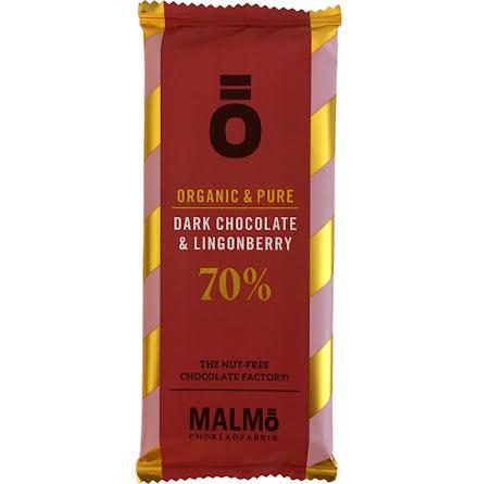 Mörk choklad & lingon 70 % - Malmö Chokladfabrik