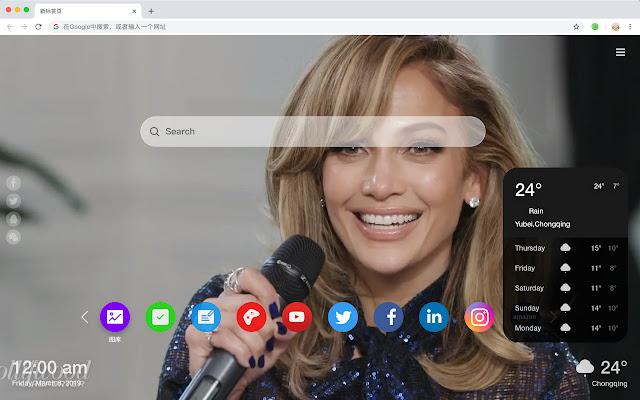 Jennifer Lopez New New Tab Theme HD