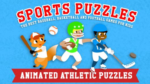 儿童运动拼图—与男孩,女孩和动物一起进行的最好的棒球,游戏