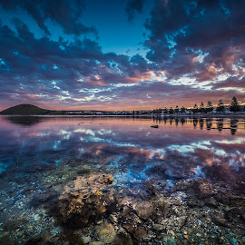 Still water by Nicole Rix - Landscapes Sunsets & Sunrises ( rocks, shell, sunset, clouds, water, trees )