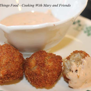 Crab Balls with Remoulade Sauce.