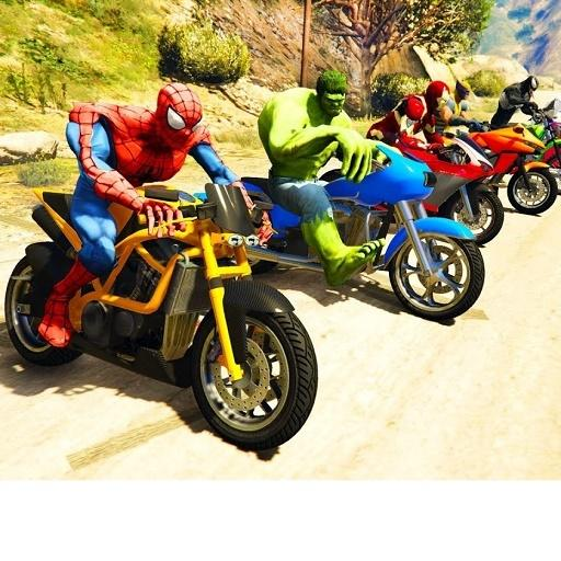 Superheroes Downhill Bike Race