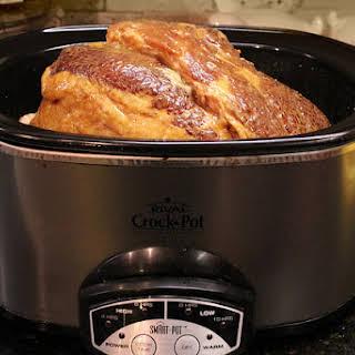 Garlic Honey Mustard Glazed Slow Cooker Spiral Ham..
