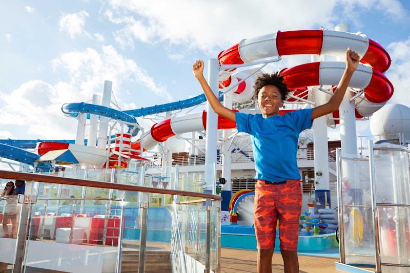 WaterWorks features the Twister, a huge corkscrew ride, and the enclosed DrainPipe spiral slide on your Carnival cruise.