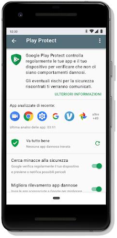 Schermata della dashboard di Google Play Protect su un dispositivo mobile