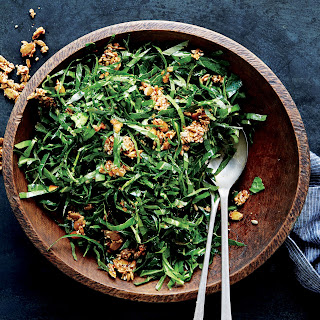 Collard Greens Salad with Ginger and Spicy Seed Brittle.
